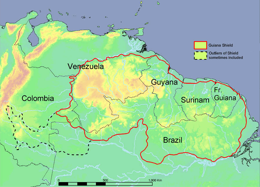 Guiana Shield map. (Image is in the public domain. Image Credit: Tom Hollowell, NMNH. Informatics. http://botany.si.edu/bdg/