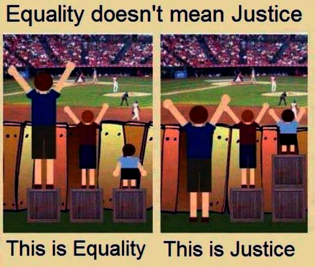 Figure 1: A visual representation of the difference between equality and justice. Image: (Escobar 2013).