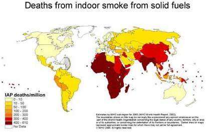 "Figure 3: Deaths from indoor air pollution is highest in developing countries. Image: (""Indoor Air Pollution and Household Energy"")."